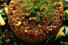 Spicy bok choy with beet infused quinoa and lentils