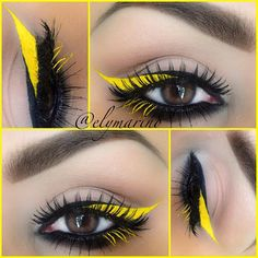Black eyeliner/ Immortal gel liner @Marlena Stell Yellow/Mixed eye drops with #2 eyeshadow from Makeup forever Lashes/Dollface from @House of Lashes Brows/ @Anastasiabeverlyhills Brow powder Duo in Dark Brown with Espresso brow gel