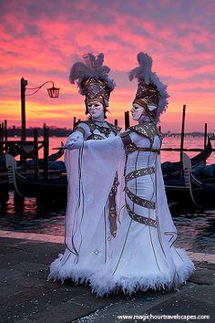 sunrise, fire, costumes, masks, Carnevale, Venice, Venezia