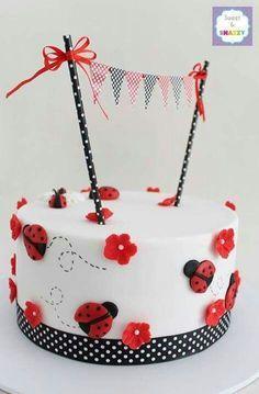 Little Ladybug Birthday -- Lady Bug Cake from Sweet & Snazzy Pretty Cakes, Cute Cakes, Beautiful Cakes, Amazing Cakes, Fondant Cakes, Cupcake Cakes, Owl Cupcakes, Fruit Cakes, Ladybird Cake