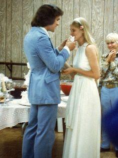 Patrick and Lisa Swayze's wedding day June 12, 1975. Childhood sweethearts.