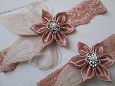 Talanted artist makes beautiful wedding garters at https://www.etsy.com/listing/266594623/rose-gold-lace-wedding-garter-set-ivory