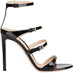 Gianvito Rossi Women's Carey Triple-Strap Sandals ($399) ❤ liked on Polyvore featuring shoes, sandals, colorless, black stilettos, black ankle strap sandals, strap sandals, open toe sandals and ankle strap sandals