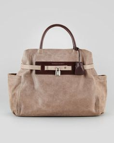 ShopStyle.com: Brunello Cucinelli Padlock Satchel Bag, Dark Taupe $2,275.00