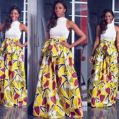 Yellow Sunflower Maxi Skirt White Bodycon Vest African Two Piece Set Belt 2-in-1 Floor Length Fashion Elegant Maxi Dress