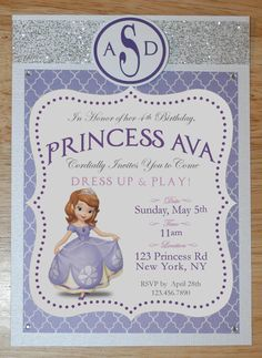 Sofia the First COMPLETE Invitation Package. $110.00, via Etsy. Yikes!
