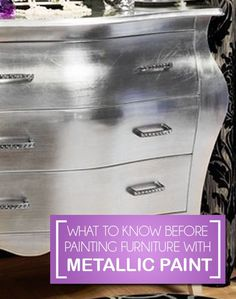 Before you decide to do a metallic paint on a piece of furniture, it's important to understand a few things before you even. View the slideshow below to read more:[CasaGiardino] ♛ What To Know Before Painting Furniture With Metallic Paint . Silver Furniture, Paint Furniture, Furniture Projects, Furniture Making, Furniture Makeover, Diy Projects, Metallic Painted Furniture, Industrial Furniture, Metallic Dresser