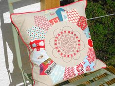 Adorable Dresden plate pillow by bearpawandbearpaw, via Flickr