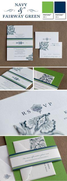 Preppy elegance invitation suite, perfect in navy & fairway green!