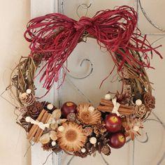【送料無料】赤リンゴのリースL/玄関外用大きいクリスマス外用リースウエディング玄関ドア誕生日母の日お祝い結婚ナチュラル素材インテリア