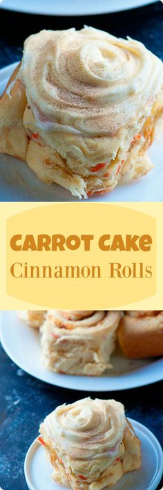 Carrot Cake Cinnamon Rolls | A delicious twist on a classic breakfast treat. Loaded with actual carrot cake mix, rum soaked raisins, and slathered in cream cheese frosting these cinnamon rolls will be sure to get your morning started off right. Find recipe at redstaryeast.com.