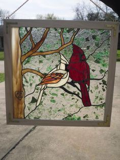 Stained glass cardinal window panel male and female