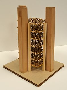 Model shows prefabricated structural system of one bay : Alfred Newton Richards Medical Research Building, University of Pennsylvania, Philadelphia PA | Louis I. Kahn