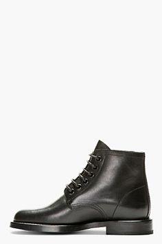 SAINT LAURENT Black Leather Rangers Ankle Boots