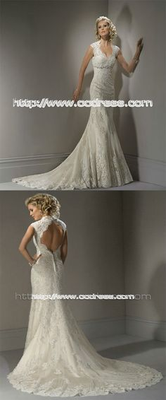 Hot selling Bateau Sheath/Column dropped Lace Wedding Dresses,white lace wedding dresses,train wedding dresses