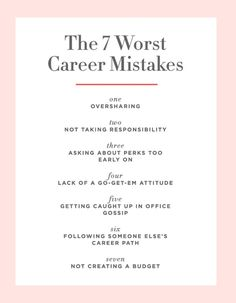 Career infographic & Advice The 7 Career Mistakes Even Savvy Women Make - Cupcakes. Image Description The 7 Career Mistakes Even Savvy Women Make - Career Success, Career Change, Career Goals, Career Advice, Career Ideas, Job Career, Career Inspiration, Career Quotes, Career Quiz