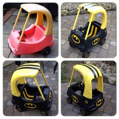 My DIY Cozy Coupe Bat Mobile Makeover! This was a lot of fun to make. This old garage sale find for $1.00 turned into the coolest BatMobile for my son :) just needed spray paint! #diy #cozycoupemakeover #littleTikes #littlegoobers #littletikesmakeover #batmobile #batman #cozycoupe #cozy #coupe #LittleGoobersParty