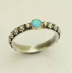 Silver gold ring, two tone ring, opal ring, engagement ring, flowers ring, thin ring, skinny stacker ring, bohemian ring - Your desire R1286