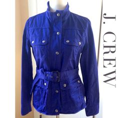 ⚡️SALE⚡️J. CREW Relaxed Boyfriend Field Jacket This bold and beautiful indigo blue relaxed boyfriend field jacket from J. Crew Factory will make a versatile addition to your outerwear collection! In water-resistant waxed cotton with four, front military wear-inspired pockets and buttons. Open collar, roll up cuffs. Boxy fit with waist tabs and adjustable belt for a fitted look. YKK front zipper hidden under front button snaps. 100% cotton. NEW WITHOUT TAGS, NEVER WORN and in PERFECT…