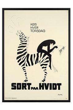 Poster for Danish Literature magazine from 1918: 'Buy every Thursday - Black and White' - Danish artist Sven Brasch (1886-1970)