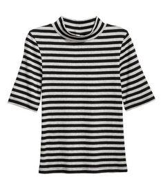Mock Turtleneck Top   Black/striped   Ladies   H&M US