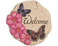 Hot Pink Flowers and Colorful Butterflies Hand Painted Cement 10 inch Stepping Stone