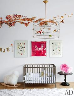 LE FASHION BLOG JENNI KAYNE CONTEMPORARY BEVERLY HILLS HOME ARCHITECTURAL DIGEST CHILDS ROOM DAUGHTER GIRLS ROOM FRAMED HERMES SCARF ROCKING...