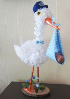 Baby boy stork Centerpiece Baby boy baby shower by VioletCreationz