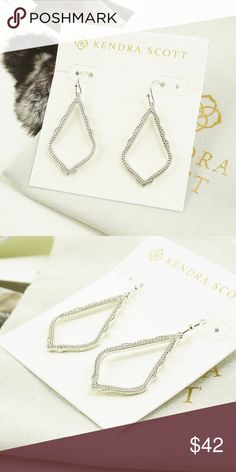 """Kendra Scott Sophia Earrings Silver Tone NWOT Kendra Scott Sophia earrings  I will not accept offer for bundle deal, 15% discount will apply automatically.    ● Silver Tone    ● 1 1/2"""" drop with ear wire; 1"""" x 3/4"""" width   ● French wire  Brand new with earrings card and pouch, no gift box.  Please check my store for other color and styles!! Kendra Scott Jewelry Earrings"""