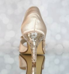 Add a classy one color sequin heel to your custom wedding shoes! (www.elliewren.com) #customweddingshoes #sequinshoes