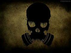 Cráneo y mascara de gas