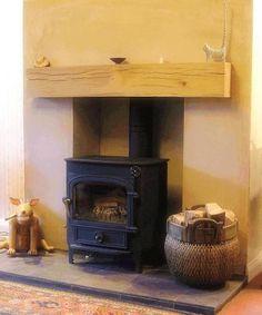 nice floating oak mantle over log burner Oak Mantle, Living Room Shelves, Log Burner, Hearth, Home Projects, Beams, Living Spaces, New Homes, Number 13