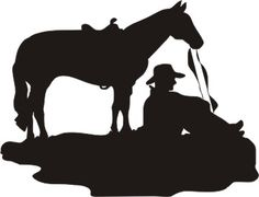 """cowboy and horse silhouette vinyl window decal 6"""" x 4.5"""""""