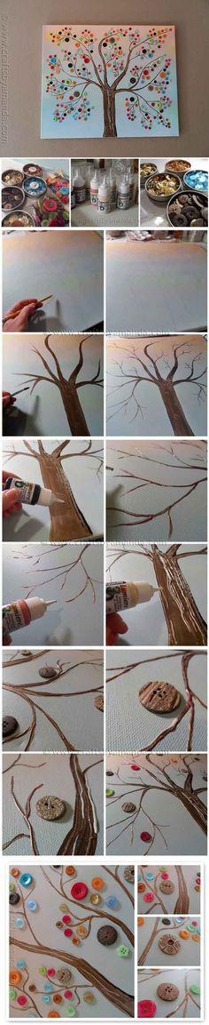 Fun DIY Tree of Life Wall Art Ideas | Vibrant Button Tree on Canvas by DIY Ready at http://diyready.com/12-diy-tree-of-life-ideas/
