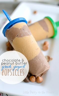 Chocolate and peanut butter are a match made in heaven- especially in these delicious greek yogurt popsicles! featured on Ella Claire