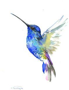Blue Hummingbird painting, 14 x 11in,bright color flowers, hummingbird wall art…