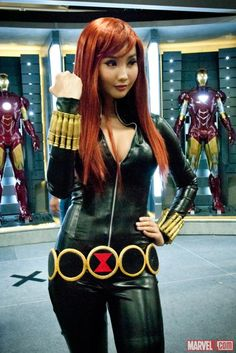 Cosplayer Alodia as Black Widow at the Marvel San Diego Comic-Con stage!