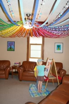 Rainbow crepe paper streamers! #party by yvette