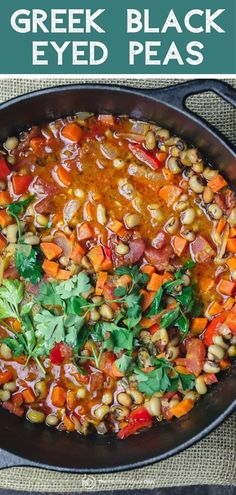 Hands-down BEST black eyed peas recipe youll try! A rich and hearty vegan black-eyed peas stew with loads of veggies and bold Greek flavors! Great way to feed a crowd on a budget. Low calorie and gluten free. Get this Mediterranean diet recipe today! Pea Recipes, Greek Recipes, Side Dish Recipes, Easy Dinner Recipes, Whole Food Recipes, Cooking Recipes, Healthy Recipes, Mediterranean Diet Recipes, Mediterranean Dishes