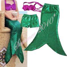Ariel la sirenita mermaid tail princesa ariel vestido cosplay niños para la muchacha verde del traje de baño traje(China (Mainland))