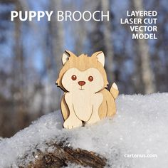 Puppy brooch. Layered FREE vector template ready for laser cut.