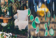 Hanging Geode Decor - omg dream theme this is awesome! Crystal Wedding, Boho Wedding, Bohemian Weddings, Lace Weddings, Mermaid Wedding, Destination Wedding, Dream Wedding, Wedding Dresses, Wedding Themes