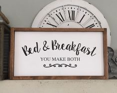 Bed and Breakfast You Make Both Wood Sign, Bed and Breakfast Wood Sign, Guest Bedroom Decor, Farmhouse Decor Guest Bedroom Decor, Bedroom Signs, Guest Bedrooms, Wood Bedroom, Painted Signs, Wooden Signs, Cute Signs, Vinyl Signs, House In The Woods