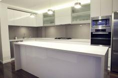 neutral kitchen with glass splashback New Kitchen Designs, Kitchen Ideas, Kitchen Planning, Toffee, Laundry Bathroom Combo, Kitchen Eating Areas, Neutral Kitchen, Kitchen Gallery, Kitchen Layout
