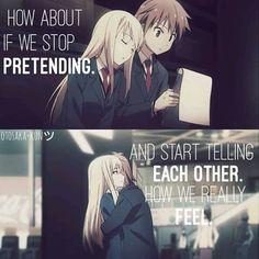 Anime: Sakurasou no pet na kanojo - that would make things easier ^^ Kimi No Na Wa, Anime Qoutes, Manga Quotes, Anime Depression, Face Everything And Rise, Noragami, Emo Love, Perfection Quotes, Anime People