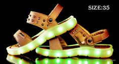 Kids Boy's LED Light Up Luminous Shoes Sandals (Size 35/Gold) Footwear 5097110 - http://xtremepurchase.com/TechStore/2016/09/01/sports-outdoors-footwear-5097110/
