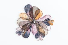 """Flora 1""  380mm x 380mm, framed in Tasmanian Oak Eco-dyed silk, organza, cotton, bamboo batting, thread, sequins, beads."
