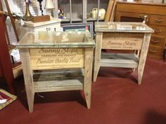 Crate side tables by Shirley & Joe - The Redneck Designers  starting at $139. Get in touch with us if you'd like one !! Shirley@redneckdesigners.com