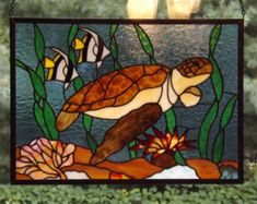 Colorful Sea Turtle Stained Glass Panel