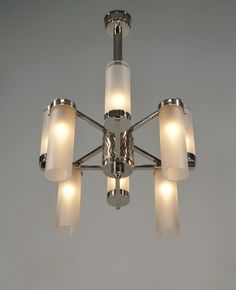 PETITOT : French 1935 modernist art deco chandelier in nickel plated bronze by maison Petitot.